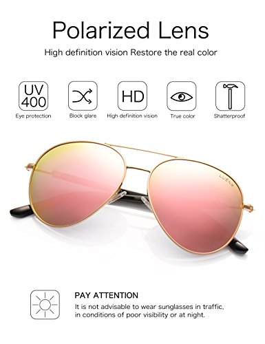 4e80cc29c6 LUENX Aviator Sunglasses Womens Polarized Mirror with Case - UV 400  Protection 60MM - Buy Online in UAE.