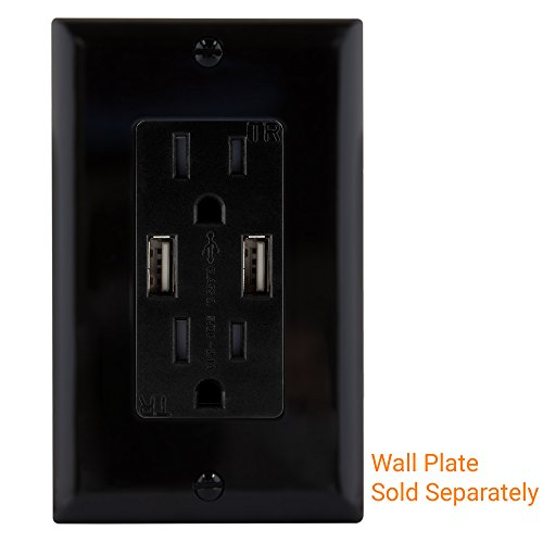 TOPGREENER TU2152A 2.1A Dual USB Charger Outlet 15A Duplex Tamper Resistant Receptacle, Black