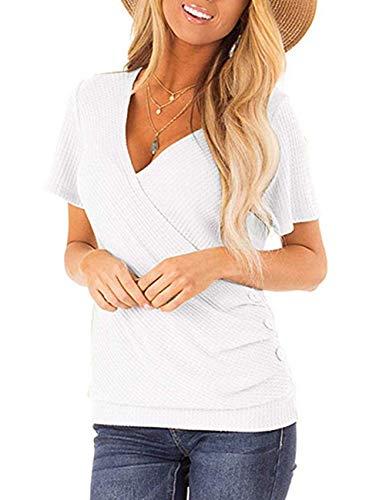 (DRIBET Women's Short Sleeve Deep V-Neck Waffle Cross Wrap Shirt Blouses Side Button Casual Knit Tunic Blouse Tops)