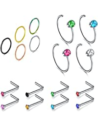 Nose Rings, 4PCS-17PCS 18G 316L Surgical Stainless Steel Fectas Piercing Nose Hoop Ring and L Shaped Ring