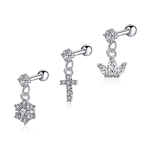EVBEA 3PCS 18G Tragus Earrings Surgical Steel Clear CZ Cross Crown Snowflake Charms Helix Conch Daith Piercing Jewelry Set for Women 6mm by EVBEA