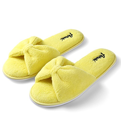 Aerusi Ladys Cute Soft Sole Indoor Bedroom Slippers Beautiful Comfort Four Season Classy Spa Slide Slipper Yellow i52bjocDV