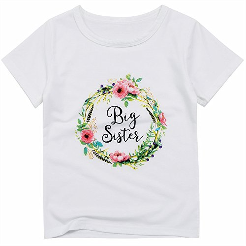 Big Sister Toddler Shirt (Kidlove Girl's Kid White Short Sleeve Round Collar Casual T Shirts (2 Years))