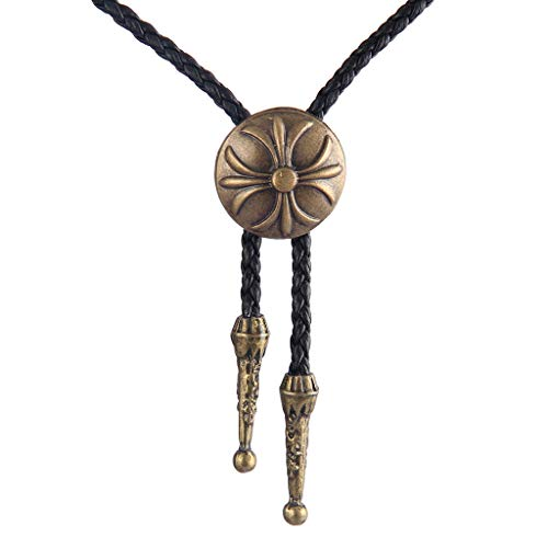 AZORA Western Cowboy Bolo Tie Men Gold Cross Leather Necktie Rope Cord Pendant Necklace Braided Jewelry for Men Kids Boy Girl ...