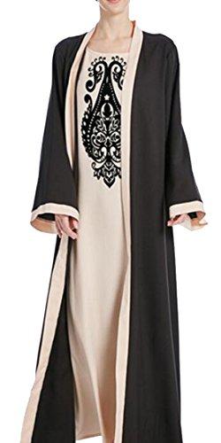 Women Long Fabric Cromoncent Stylish Fake Thobe Muslim Arab Dresses Piece Apricot 2 UFzfdqwF