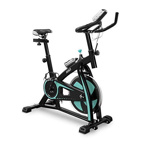 Akonza Indoor Stationary Exercise Bike (Turquoise) Belt Drive Cycling Bicycle With LED Monitor For Home Workout and Exercise - 330lbs Capacity