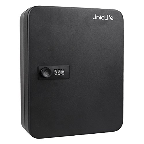 Uniclife 48 Key Cabinet Steel Security Lock Box with Combination Lock-Black - Key Cabinet Key Lock