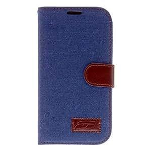 compra Jean Diseño de cuero de caso completo de cuerpo de la PU para Samsung Galaxy Mega 5.8 (I9150) , Azul Oscuro