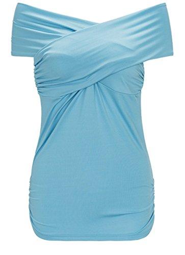 Fanessy Camiseta Mujer Hombros Descubiertos Blusa Cuello Barco Casual Elegante Oficina Mangas Cortas Azul