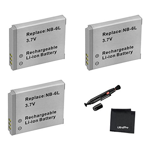 3-Pack NB-6L / NB-6LH High-Capacity Replacement Batteries for Select Canon Digital Cameras. UltraPro Bundle Includes: Deluxe MicroFiber Cleaning Cloth, Lens Cleaning Pen