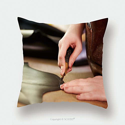 Custom Satin Pillowcase Protector Shoemaker Cutting Leather In A Workshop Close Up 290152256 Pillow Case Covers Decorative