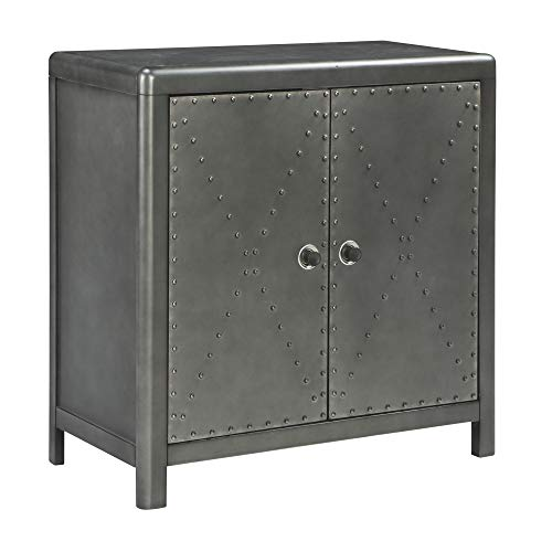 Chest 2 Accent Drawer - Ashley Furniture Signature Design - Rock Ridge 2-Door Accent Cabinet - Antique Gunmetal Finish - Black Metal Door Pulls - Nailhead Trim