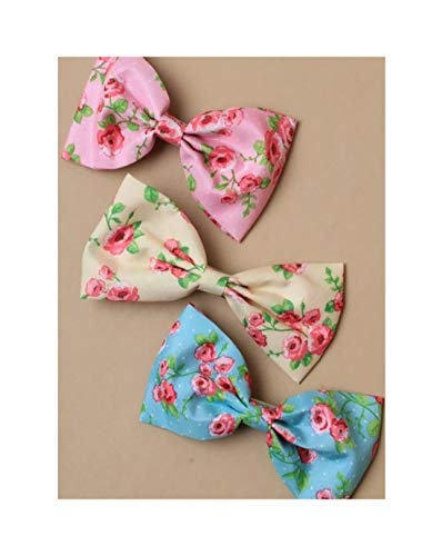 Rimi Hanger Girls Assorted Color Ditsy Rose Floral Fabric Bow On A 6cm Forked Clip Fairy Girl Bow Clip Pack of 6 One Size