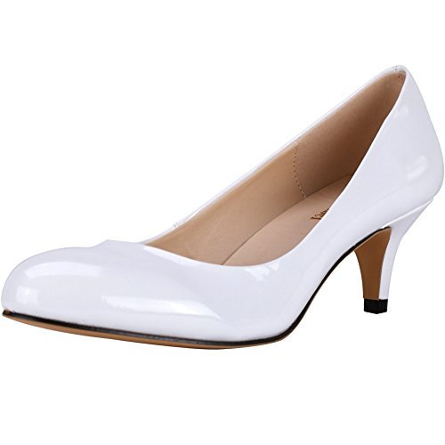 Neon Zbeibei White Toe Work Round Court 3321 Mid Women's Slender Leather Heels Pumps rrqTvPH