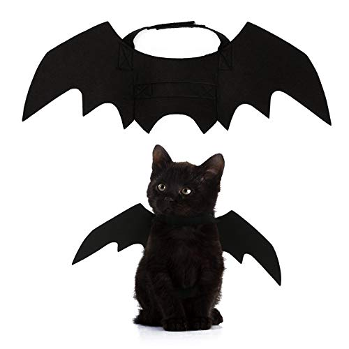 PEDOMUS Cat Costume Pet Bat Wings Cat Bat Costume Halloween Costume Pet Apparel for Small Dogs and Cats