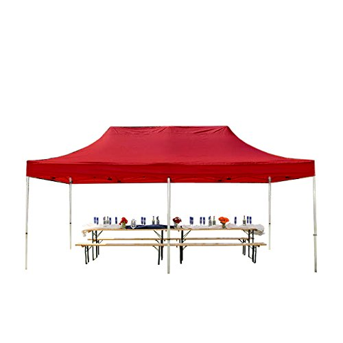 Faltpavillon Faltzelt Pavillon Klappzelt 4x8 m - ca. 400g/m² Plane + ca. 50mm Aluminiumgestänge - Zelt Partyzelt Gartenzelt Sonnenschutz Markstand Popup, ohne Seitenteile, rot