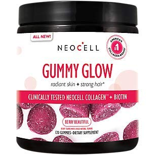 NeoCell Gummy Glow with Collagen and Biotin, Non-GMO and Gluten Free, Berry, 120 Gummies