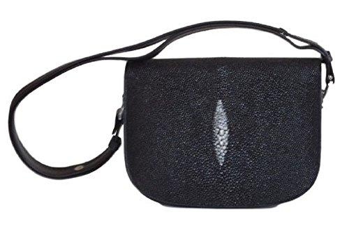 uine Stingray Leather Large Saddlebag Style Handbag, Black (Exotic Skin Handbags)