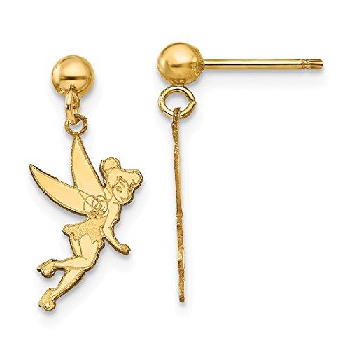 ICE CARATS 14k Yellow Gold Disney Tinker Bell Drop Dangle Chandelier Post Stud Earrings Fine Jewelry Gift Set For Women Heart
