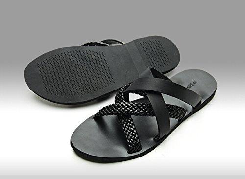 Happyshop (tm) Heren Leren Slippers Casual Romeinse Geweven Glijlappen Strapy Sandalen Schoenen Zwart