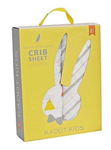 Kadut Kids 100% Muslin Cotton Fitted Crib Sheet Midnight Magic Collection (Double Pack, Geometric)