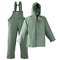 Galeton 7954-XL-GR 7954 Repel Rainwear 0.50 mm PVC 3-Layer Fishermans Rain Suit, Green, X-Large