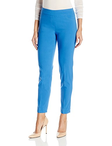 (SLIM-SATION Women's Wide Band Pull On Ankle Pant with Tummy Control, Blue Aqua, 10)