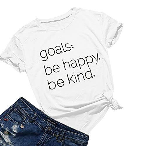 Keliay Womens Tops for Summer,Women's T Shirt Summer Letter Print Short Sleeve Loose Tops Blouse White