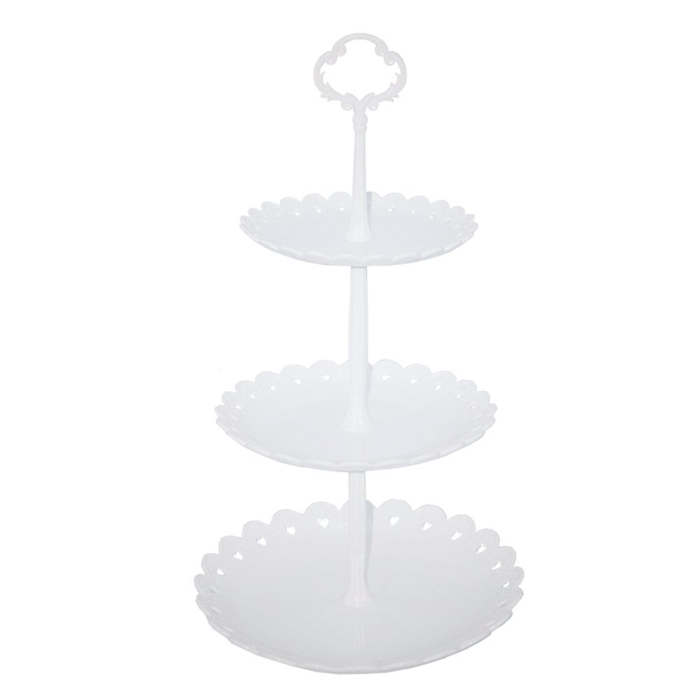 Hotoco 3-tier White Plastic Dessert Stand Pastry Stand Cake Stand Cupcake Stand Holder Serving Platter for Party Wedding Home Decor