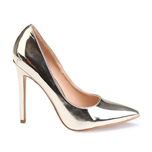 De Zapatos Mujer Material La Modeuse Vestir Sintético Dorado qE86Pw5