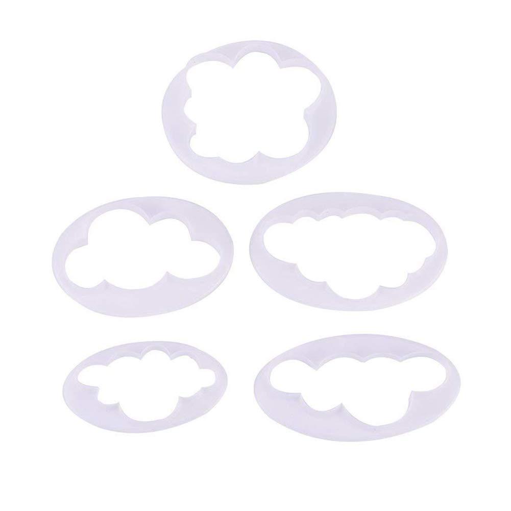 Hilai 5pcs Nuage Fondant Cake Decoration Impression Moule Moule de Coupe pour Outil de Cuisine Cuisson gâ teau Nuage Nori Presse