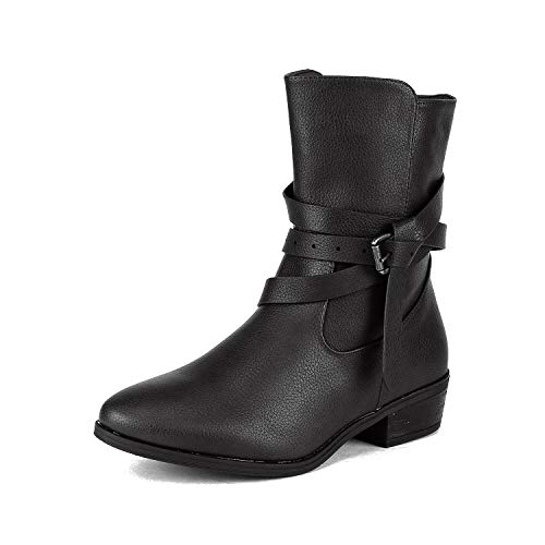 DREAM PAIRS Women's Jake Black Side Zipper Low Heel Ankle Bootie Size 5.5 B(M) US