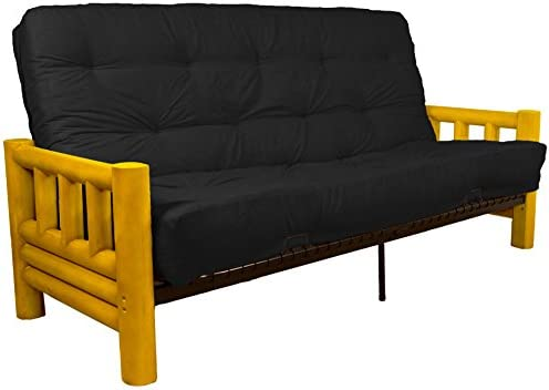 Astonishing Rocky Mountain 8 Inch Loft Inner Spring Futon Sofa Sleeper Bed Queen Size Microfiber Suede Ebony Black Upholstery Theyellowbook Wood Chair Design Ideas Theyellowbookinfo