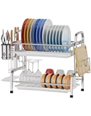 Dish Drying Rack-Premium Stainless Steel-Utensil Holder Cutting Board Holder-Rustproof Dish Drainer with Removable Drain Board for Kitchen Counter top