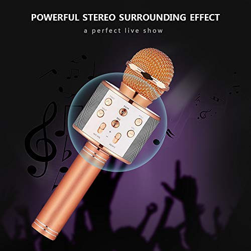 Birthday Gifts for 4-12 Year Old Girls, DIMY Wireless Karaoke Microphone Bluetooth for Kids Toy Microphone Party Favor for Teen Boys Girls Toys Age 4-12 Gifts Toys for Teens Boy Rose Gold DMHK3 by LET'S GO! (Image #5)
