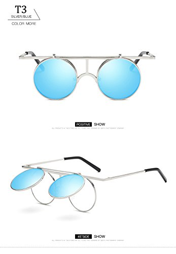 lente Aviator sol metal T3 HD de para polarizadas de ATNKE redondo gafas Protección mujeres con marco reflectante UV400 Eyewear Steampunk hombres 6fxdq