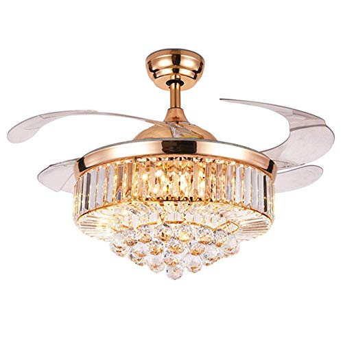 42 inch Rose Gold LED Crystal Ceiling Invisible Fan Light Chandelier Crystal Ceiling Fan with Light Acrylic Bulb Ceiling Lamp Suitable for Bedroom Living Room Dining Room Rose Gold with Remote Control (Lamp Gold Crystal)