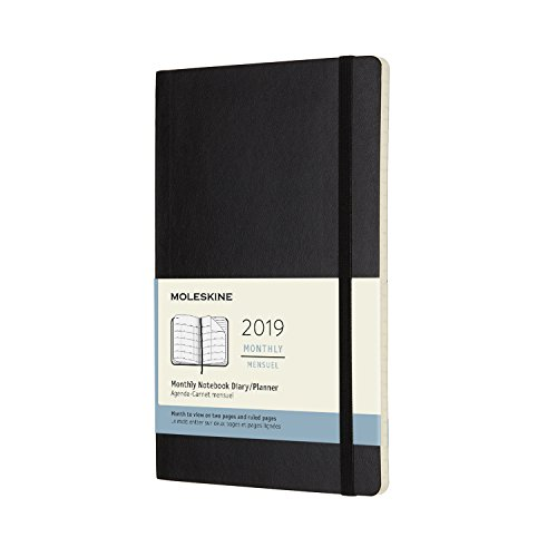 Moleskine 2019 12M Monthly Large Monthly Black Soft Cover (5 x 8.25) Moleskine Monthly Planner for Students, Professionals, for Organizing and Planning