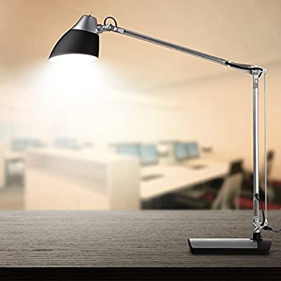 TaoTronics Metal Desk Lamp LED (Flexible Arm, Rotatable Head, Eye-Friendly Design, Black Plastic + Silver Aluminum Alloy Finish), 6W