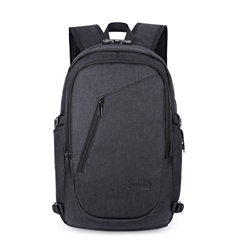 HONEYJOY Mens Business Slim Laptop Backpack with USB Charging Port Lightweight Travel Bag (20 12.2 5.7 inches, Black)