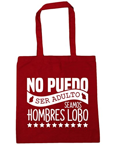 Hippowarehouse Can Not Be An Adult We Are Werewolves Beach Bag With Handles Shopping Bag 42cm X 38cm For Gym Red Capacity 10 Liters