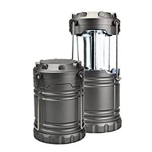"ULTRA BRIGHTEST Collapsible Lantern 600 Lumen COB-LED 5"" and 7"" Portable Outdoor Battery Powered Camping Lantern - Survival Kit for Emergency, Hurricane, Storm, Power Outage & Camping (Gun Metal Grey)"
