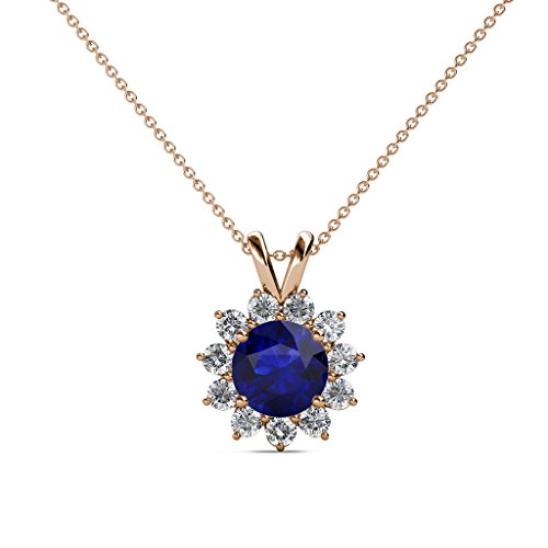 Blue Sapphire and Diamond (SI2-I1, G-H) Floral Halo Pendant 1.28 cttw in 14K Rose Gold 14K Gold Chain