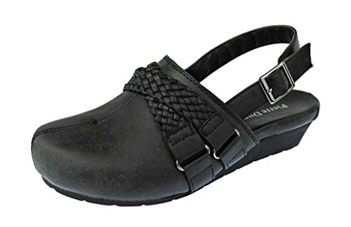 Pierre Dumas Women's Lexy-3 Vegan Leather Braided Accents Adjustable Strap Clogs,Black,9