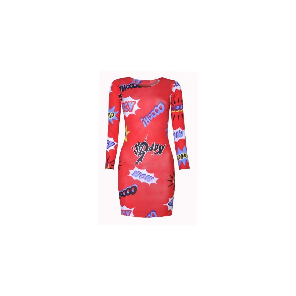 Womens Pow Cartoon Long Sleeved Party Dress