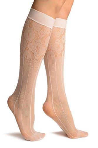 White Pinstriped Mesh Socks Knee High - Socks