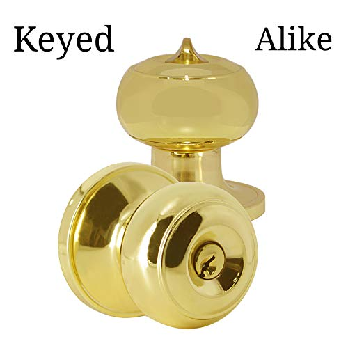 Brass Entry Lockset Key - Entry Door Knobs with Lock and Key Polished Brass,Keyed Alike Doorknobs Lockset Combo Pack,Entrance Function,Contractor Pack,Colonial Style Flat Ball Shape