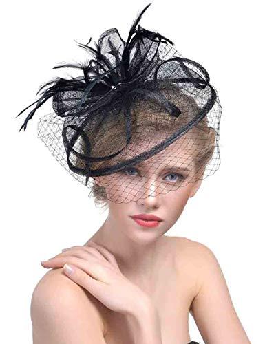 XXXITICAT Women's Feather Veil Mesh Fascinator Derby Hat Wedding Bride Headwear Cocktail Headdress Cap Fishnet Headband(BL) Black