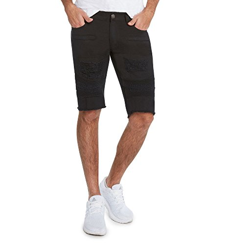 Mens Crown Shorts (Men's 5 Pocket Distressed Denim RD Shorts by 9 Crowns-Black-42)