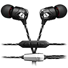 V-MODA Zn In-Ear Modern Audiophile Headphones with 3 Button Remote and Mic for iOS Apple Devices, Nero